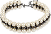 INC International Concepts Hematite-Tone Imitation Pearl and Chain Choker Necklace, Only at Macy's