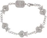 King Baby Studio CZ Pav Crowned Heart Motif Bracelet Bracelet