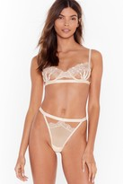 Nasty Gal Womens Unlock the Caged Bralette and High-Leg Thong Set - beige - L