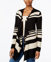 JM Collection Striped Draped Cardigan, Only at Macy's