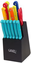 Ginsu 14-pc. Mixed Color Knife Block Set with Teal Steak Knives