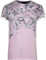 River Island MensPink faded floral print T-shirt