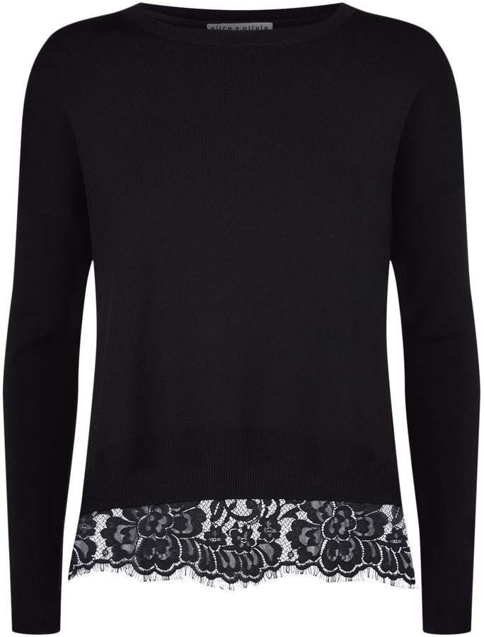 Alice + Olivia Iva Lace Lined Sweater