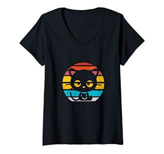 Womens Vintage Retro Eighties Style Black Cats Lover Cat Gift V-Neck T-Shirt