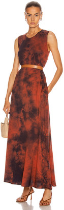 Raquel Allegra Sleeveless Drama Maxi Dress in Red Tie Dye | FWRD