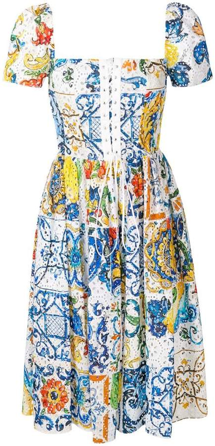 Dolce & Gabbana majolica broderie anglaise dress