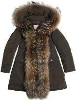Moncler Clarabide Tech Nylon Down Coat W/ Fur