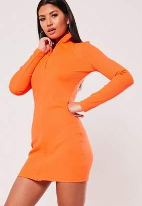 Missguided Orange Rib Zip Through Mini Dress