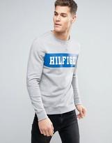 Tommy Hilfiger Sweatshirt Chest Logo Panel In Grey Marl