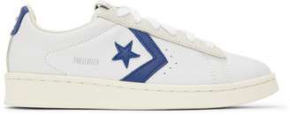 Converse White and Navy Pro Leather OG OX Sneakers