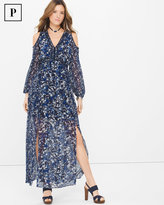 White House Black Market Petite Long-Sleeve Cold-Shoulder Abstract Floral Maxi Dress
