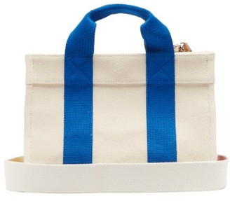 Lego Rue De Verneuil Mini Leather-trimmed Canvas Tote Bag - Womens - Blue Multi