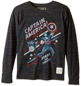 The Original Retro Brand Kids Captain America Long Sleeve Tri-Blend Tee (Big Kids)