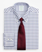 Brooks Brothers Stretch Milano Slim-Fit Dress Shirt, Non-Iron Twill Button-Down Collar Grid Check