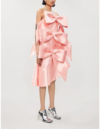 Monroe oversized bow silk and wool-blend dress
