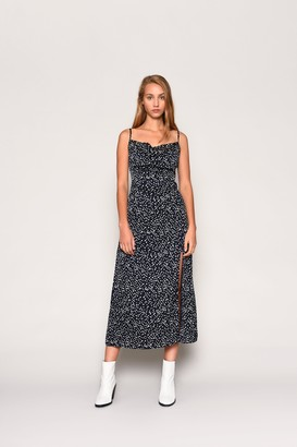 Glamorous Womens **Polka Dot Midi Dress By Navy Blue