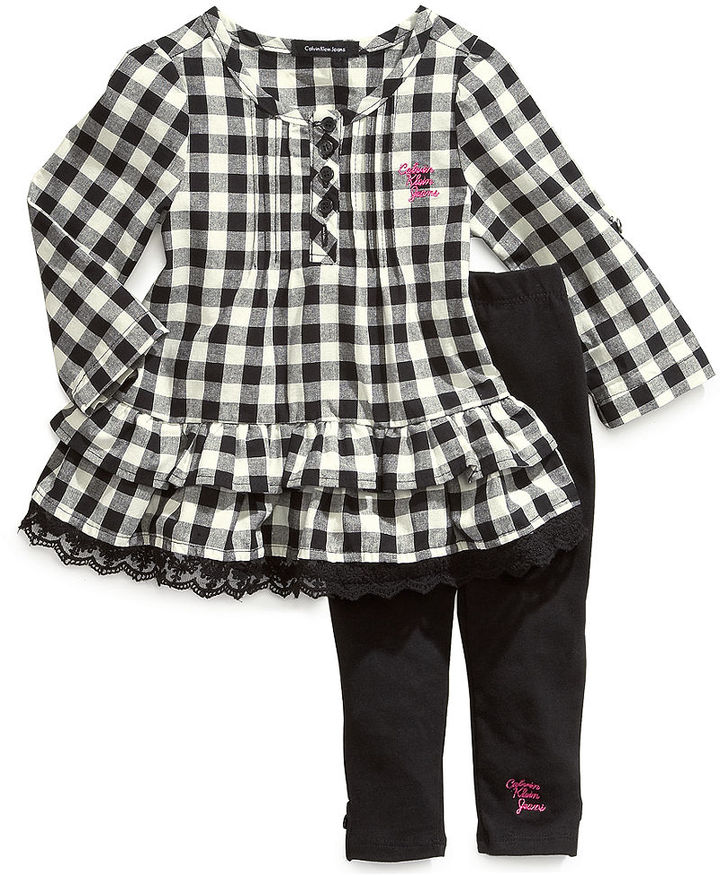 Calvin Klein Baby Set, Baby Girls 2-Piece Gingham Shirt and Pants