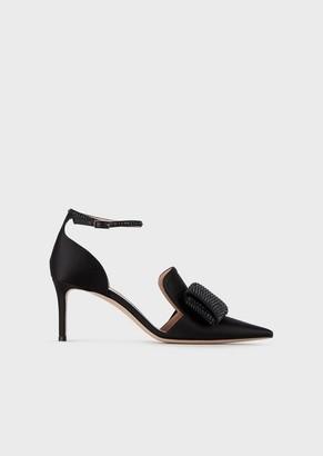 Giorgio Armani Satin Court Shoes With Matching Rhinestone Bow