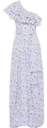 Caroline Constas Rhea One-shoulder Ruffled Floral-print Cotton-blend Poplin Maxi Dress