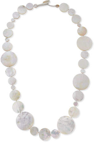 """Viktoria Hayman Long Mother-of-Pearl Disc Necklace, 42"""""""