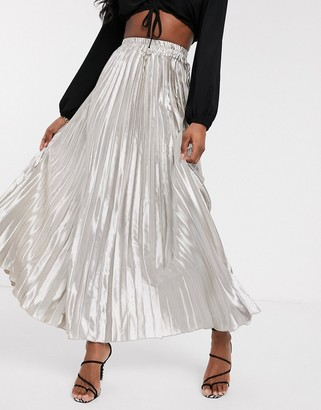 Koco & K pleated maxi skirt in silver