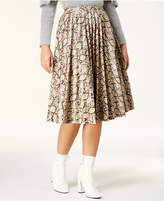 Endless Rose Snake-Embossed Faux-Leather Skirt