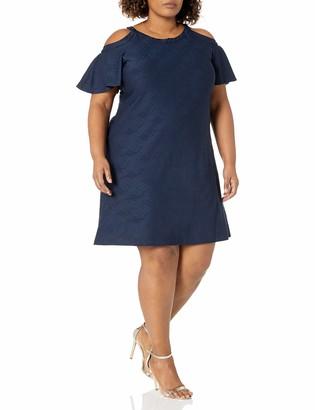 Gabby Skye Women's Plus Size Cold Shoulder Elbow Sleeve Knit Shift Dress