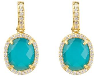 Latelita Beatrice Oval Gemstone Drop Earrings Gold Dark Blue Chalcedony