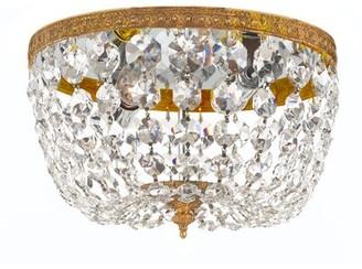 "House of Hampton Milan 2 - Light 8"" Unique/Statement Bowl LED Flush Mount Crystal Grade: Majestic Wood Polished"