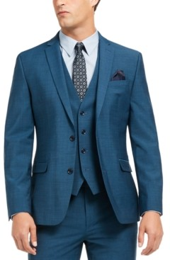 Bar III Men's Slim-Fit Active Stretch Performance Teal Suit Separate Jacket, Created for Macy's