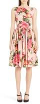 Dolce & Gabbana Women's Rose Print Cotton Poplin Dress