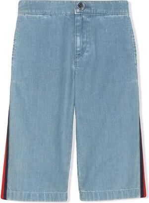 Gucci Kids Web Detail Wide Leg Jeans