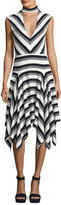 Derek Lam 10 Crosby Sleeveless Mitered Stripe Stretch Jersey Dress, Navy/White
