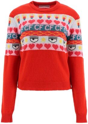Chiara Ferragni Norwegian Jacquard Crewneck Sweater