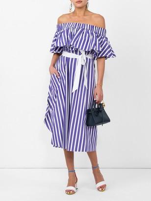 Maison Rabih Kayrouz purple striped off-shoulder dress purple