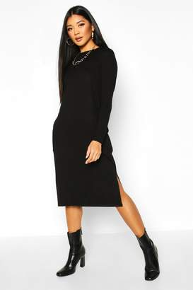 boohoo Long Sleeve Pocket Midi T-shirt Dress