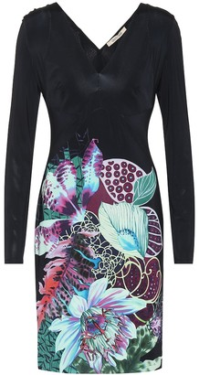 Roberto Cavalli Printed stretch-crepe minidress