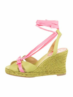 Christian Louboutin Colorblock Pattern Bow Accents Espadrilles Green