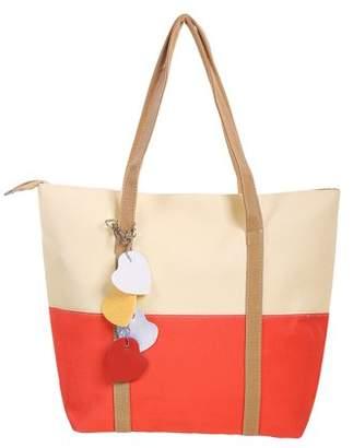 BEIGE Unique Bargains Women's Color Block Dual Handles Zippered Top Casual Tote Bags