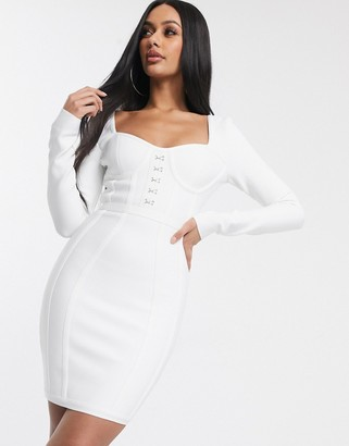 Band Of Stars bandage corset detail mini bodycon dress in white