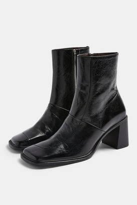 Topshop Womens Milan Black Block Leather Boots - Black
