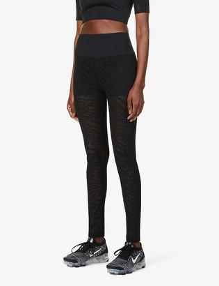 Good American Midnight animal-print high-rise stretch-woven leggings