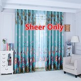 WPKIRA Kids Room Decor Rod Pocket Top Lovely Cartoon Print Forest Park Sheer Tulle Voile Window Curtain/Drape/Panel/Treatment/Covering Single Panel W75 x L84 inch