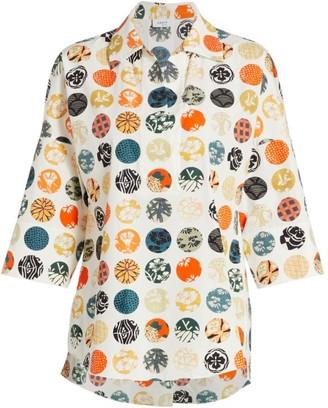 Akris Punto Wood Block Dot-Print Blouse
