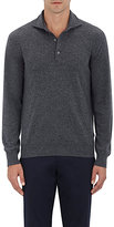 Cifonelli Men's Cashmere Long-Sleeve Polo Shirt-LIGHT GREY