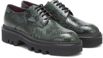 Dries Van Noten Snake-effect leather Derby shoes