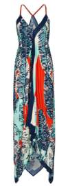 Nooki Design - Cheese Plant Print Hanky Hem Dress - S - Blue/Orange/Black