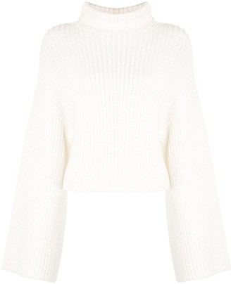 Sally LaPointe Ribbed-Knit Turtleneck Jumper