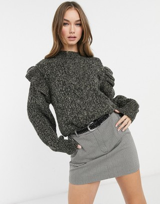 Topshop frill sleeve cable knit jumper in charcoal
