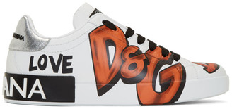 Dolce & Gabbana White Graffiti Sneakers